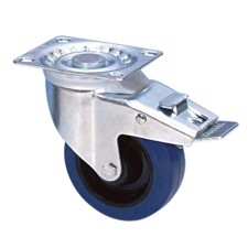 Guitel Swivel Castor 100 mm with blue Wheel and Brake - 37024