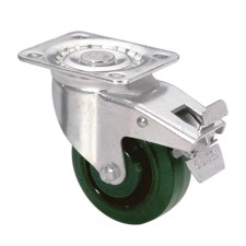 Guitel Heavy Duty Swivel Castor 100 mm with green Wheel and Brake - 37026