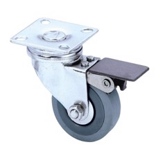 Guitel Swivel Castor 50 mm with grey Wheel and Brake - 3703
