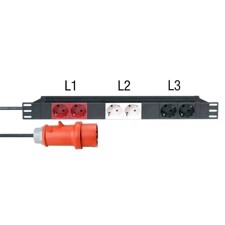 "Adam Hall 19"" Mains Power Strip 6 Sockets, 3 Circuits - 87473"