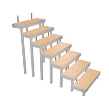 Bütec Stair, aluminum, 7-step, for platforms up to 160 cm - 510711003020
