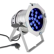 Cameo 18 x 3 W TRI colour LED RGB PAR light in polished housing - PAR 64 CAN TRI 3W PS