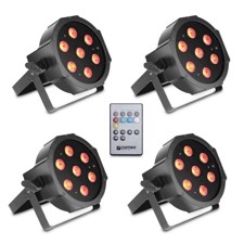 Cameo Set of 4 PAR lights 7 x 3 W High Power TRI colour FLAT LED RGB in black housing incl. Infrared remote - FLAT PAR TRI 3W IR SET