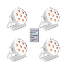 Cameo Set of 4 PAR lights 7 x 3 W High Power TRI colour FLAT LED RGB in white housing incl. Infrared remote - FLAT PAR CAN TRI 3W IR WH SET