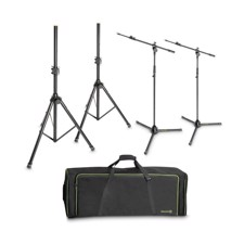 Gravity Set of 2 Speaker and 2 Microphone Stands in Transport Bag - SSMS SET 1
