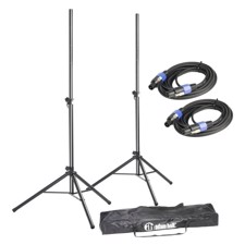 Adam Hall Set of 2 Speaker Stands with Bag and Standard Speaker Cables - SPS 023 SET 2