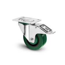 Adam Hall Hardware 372291 - Swivel Castor 100 mm with green Wheel and Brake