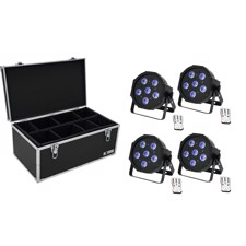 EUROLITE Set 4x LED SLS-603 TCL UV Floor + Case TDV-1