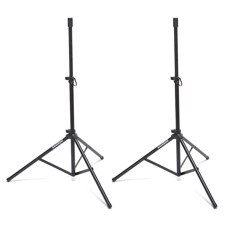 Samson LS50P, Lightweight, telescoping tripod speaker stands features a roadworthy, steel-constructed design with a sleek black finish