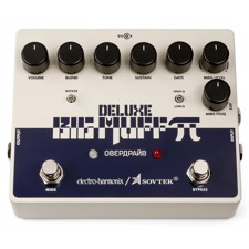 "Electro Harmonix Deluxe Sovtek Big Muff - Fully integrated Distortion/Sustainer pedal that combines the ""Civil War"" / ""Tall Font"" Green Russian Big Muffs plus the Deluxe Big Muff Pi in one single peda"